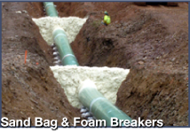 sand bags and foam breakers